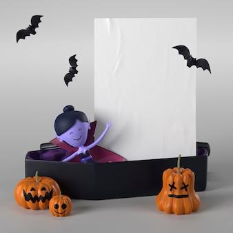 Caixão com vampiro para o dia das bruxas