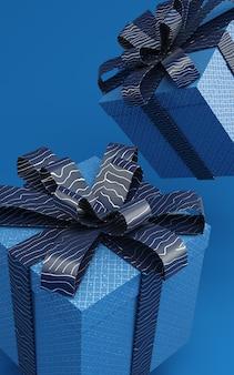 Caixas atuais azuis clássicas que levitam na ilustração da rendição do ar 3d com fita do teste padrão. cor na moda de 2020