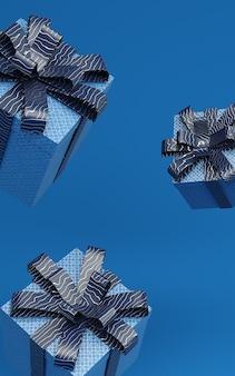 Caixas atuais azuis clássicas que levitam na ilustração da rendição do ar com fita do teste padrão. cor na moda de 2020