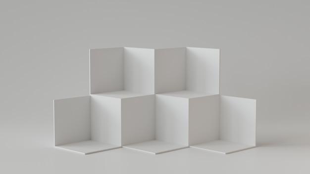 Caixas brancas do cubo com fundo branco da parede em branco. renderização em 3d.