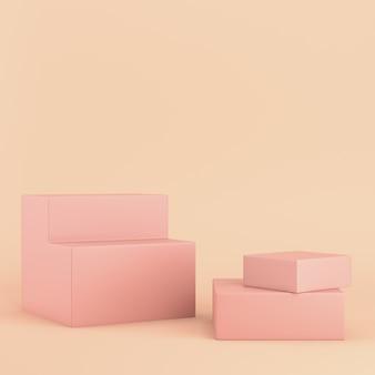 Caixas de colorfull em pastel rosa com espaço de cópia. renderização 3d