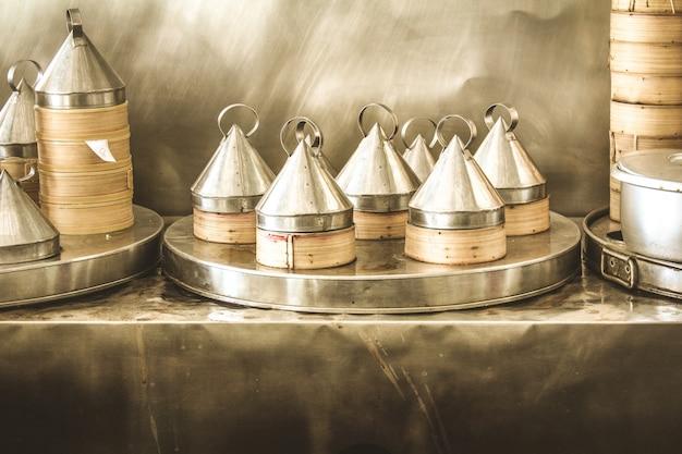 Caixas de comida asiática vapor