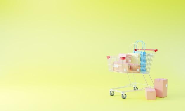 Caixas de papel e sacola de compras dentro de um carrinho de compras em um fundo amarelo.