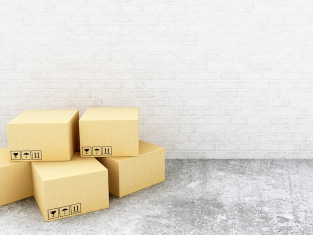 Caixas de papelão 3d. conceito de entrega.