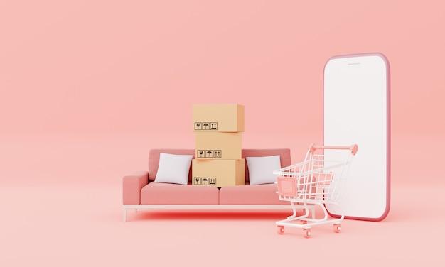 Caixas de papelão com smartphone isolado de tela branca com móveis de sofá da sala e maquete de carrinho de compras em fundo rosa pastel. conceito on-line de compras de negócios. renderização de ilustração 3d