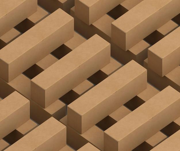 Caixas de papelão de desenho isométrico