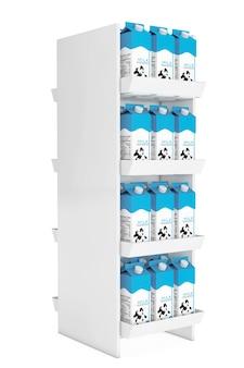 Caixas de papelão de leite na prateleira da loja em um fundo branco. renderização 3d