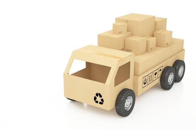 Caixas de papelão em ilustração 3d branca