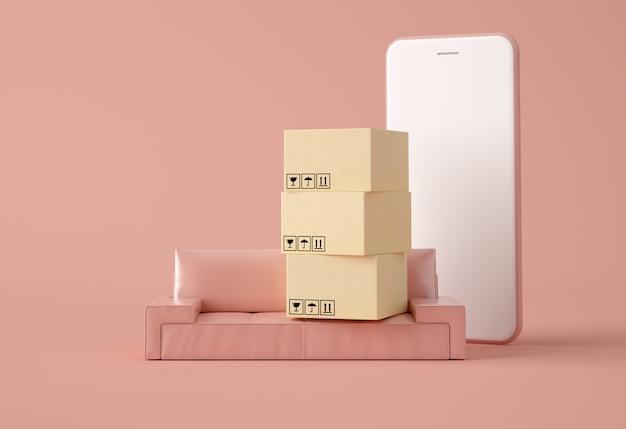 Caixas de papelão em um sofá e smartphone