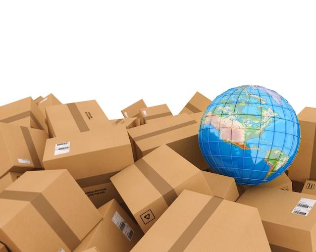 Caixas de papelão fechadas e embaladas com adesivo. mapa do globo terrestre em caixas. conceito de remessa internacional e globalização. renderização 3d