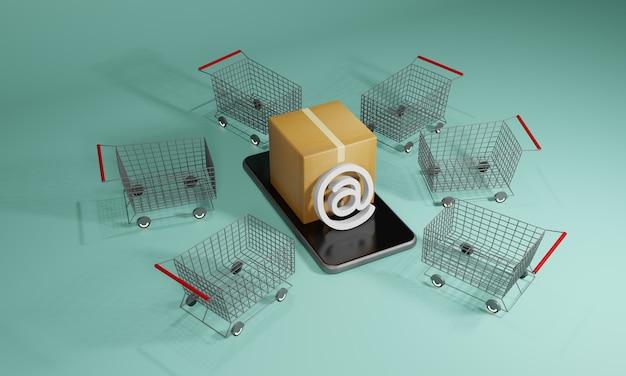 Caixas de papelão ou pacote e um carrinho de compras. loja de compras online com smartphone, renderização 3d