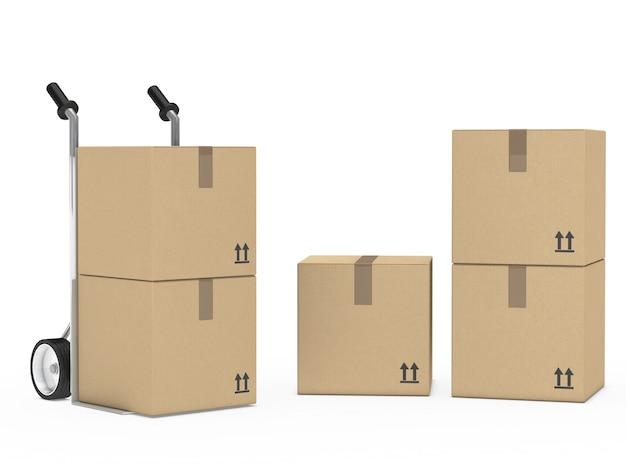 Caixas de papelão preparado para o movimento