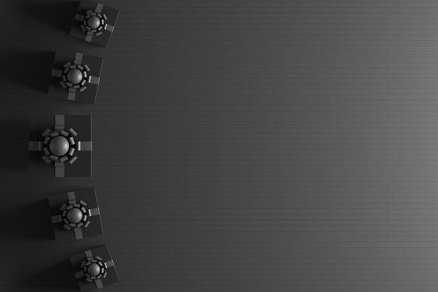 Caixas de presente 3d pretas com fundo preto