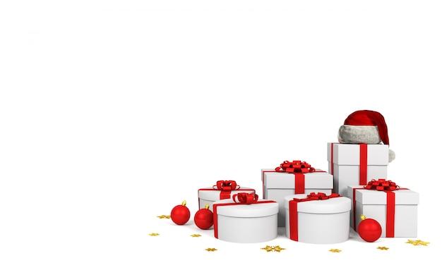 Caixas de presente brancas com fita vermelha e chapéu de papai noel em fundo branco, renderização em 3d