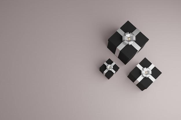Caixas de presente com fitas brilhantes e laço. vista superior copyspace fundo