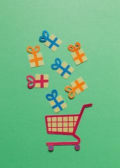 Caixas de presente da caixa e carrinho de compras