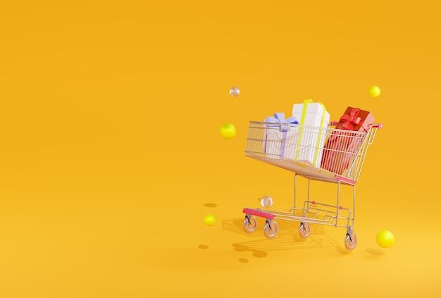 Caixas de presente de árvore de renderização 3d no carrinho de compras em amarelo
