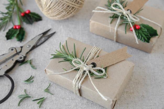 Caixas de presente de natal de artesanato ecológico