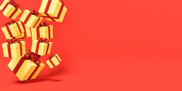 Caixas de presente douradas com fitas vermelhas caindo de um lado da imagem com espaço para texto