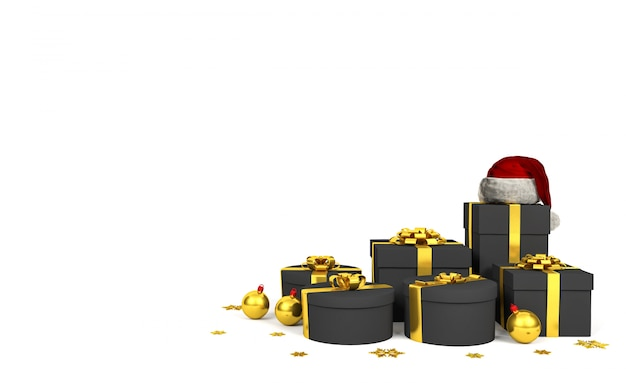 Caixas de presente pretas com fita dourada e chapéu de papai noel em fundo branco, renderização em 3d