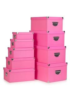 Caixas de presente rosa isoladas