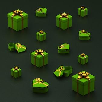 Caixas de presente verde e corações com fita dourada sobre fundo áspero verde escuro