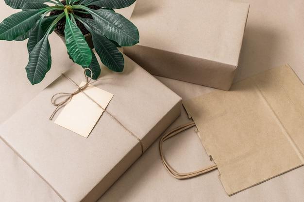 Caixas embaladas e sacola de compras em fundo cinza com planta verde, vista superior.
