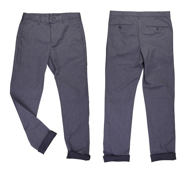 Calça jeans casual cinza na frente e nas costas com perna dobrada em fundo branco