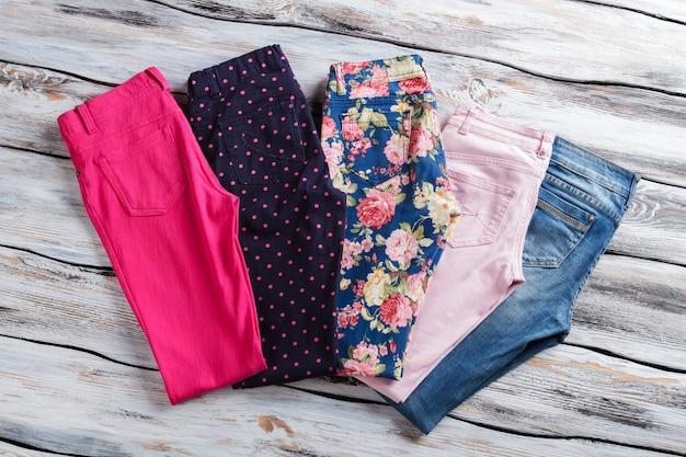 Calças casuais diferentes para meninas dobradas jeans e calças cor de frescor e coágulo novo de qualidade ...