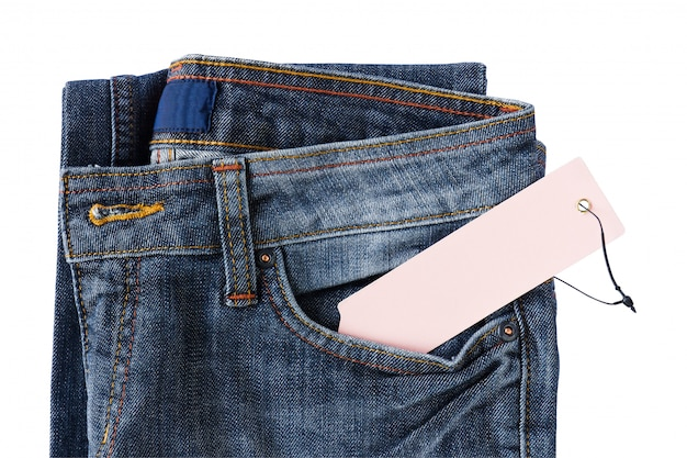 Calças de ganga novas com etiqueta de preço