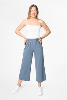 Calças soltas com linha azul - roupas femininas