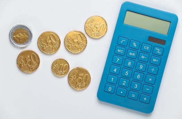 Calculadora com moedas em branco