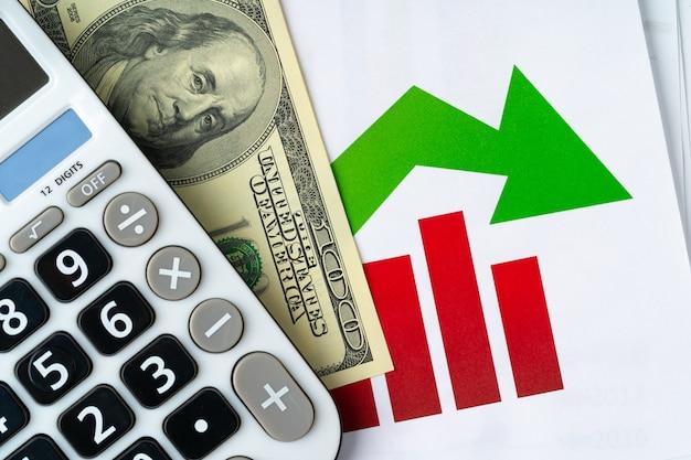 Calculadora com pilha e gráfico de dólares americanos