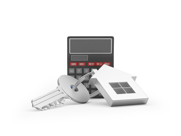 Calculadora e chave com chaveiro de casa
