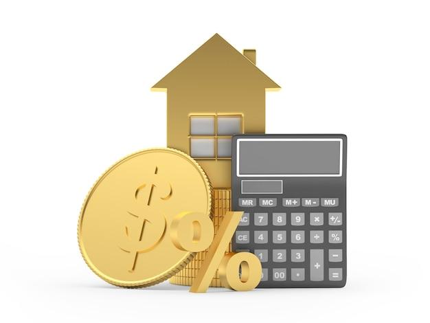 Calculadora e ícone de casa com moeda de um dólar e sinal de porcentagem