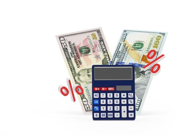 Calculadora e notas de dólar com um sinal de porcentagem