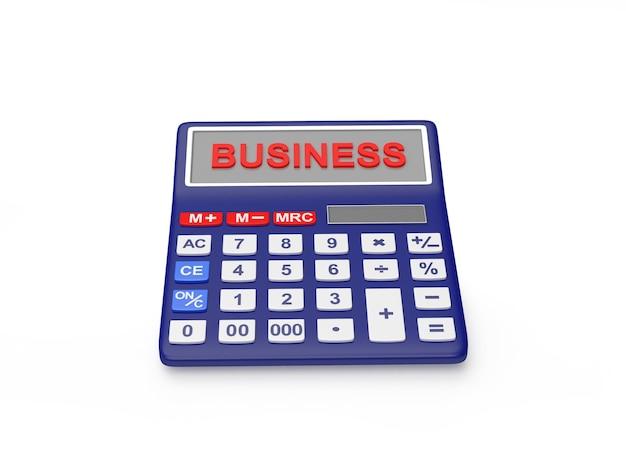 Calculadora eletrônica com a palavra business no visor