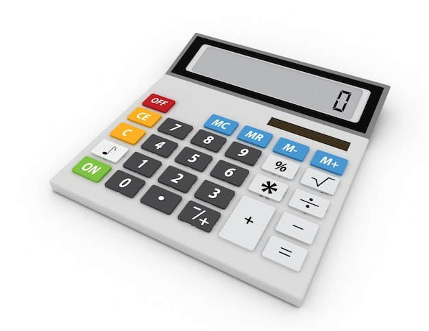Calculadora eletrônica isolada no fundo branco