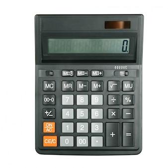 Calculadora grande preta no fundo branco. isolado