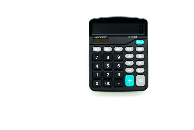 Calculadora preta nos fundos brancos