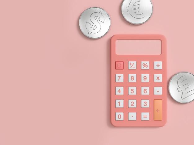 Calculadora rosa e três moedas de prata no chão rosa renderização 3d mínima