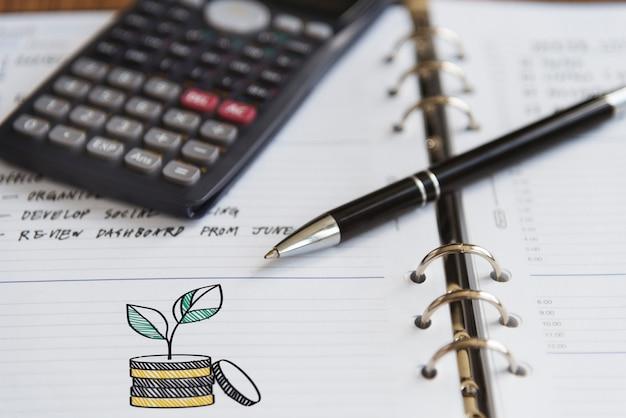 Cálculo calculado da nota do lembrete da pasta da finança