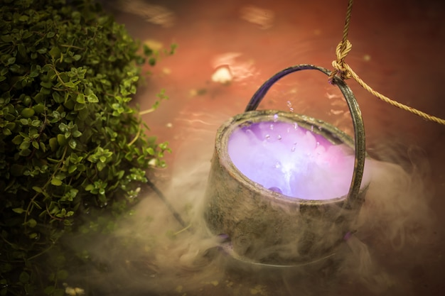 Caldeirão com poção fervente de magia roxa ou sopa tóxica de veneno.