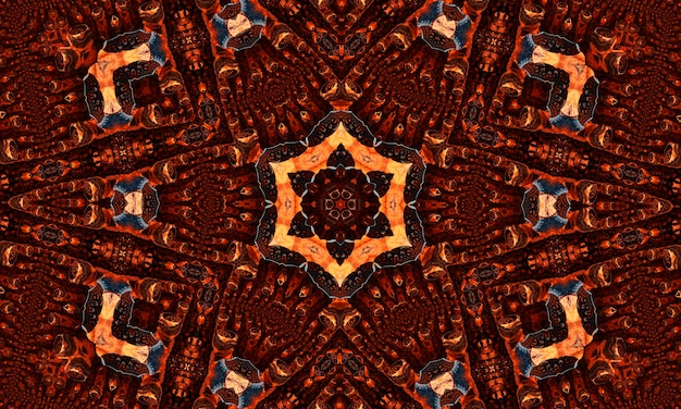 Caleidoscópio de gengibre. papel de parede groovy. batik de repetição de gengibre. cor preta geométrica. horror psicodélico místico. tapete geométrico branco. papel de parede místico sem emenda.