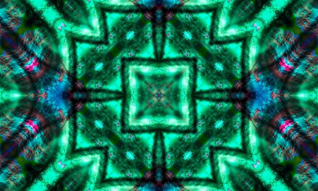Caleidoscópio de sinal místico, padrão de linhas de cruzamento sem emenda. caleidoscópio da cruz verde.