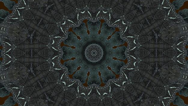 Caleidoscópio groonge em cinza escuro e azul suave.