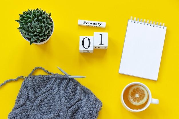 Calendário 1 de fevereiro. xícara de chá, tecido suculento notepad em agulhas de tricô
