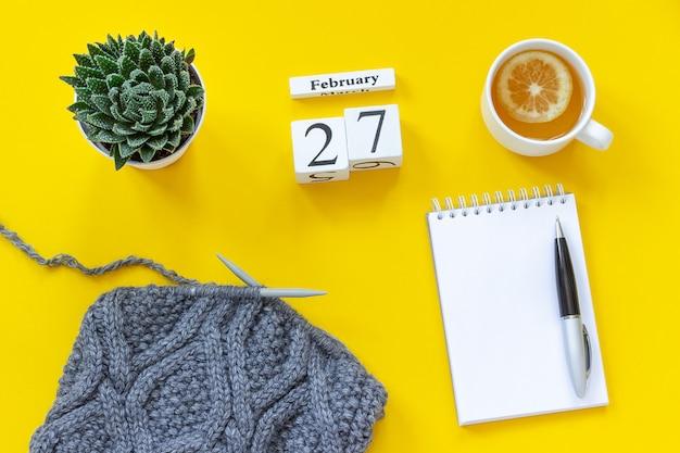 Calendário 27 de fevereiro. xícara de chá com limão, bloco de notas, tecido suculento e cinza em agulhas de tricô