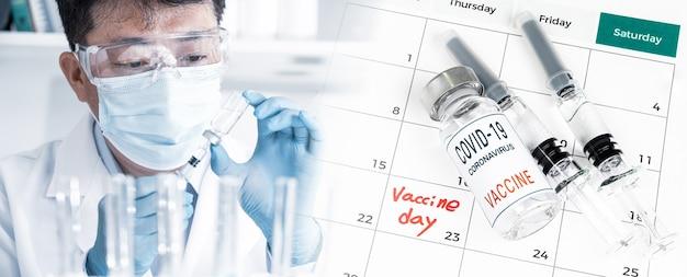 Calendário com a data da vacinação com um médico segurando a vacina.