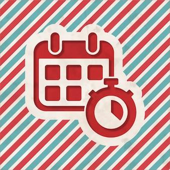Calendário com cronômetro em fundo listrado de vermelho e azul. conceito vintage em design plano.